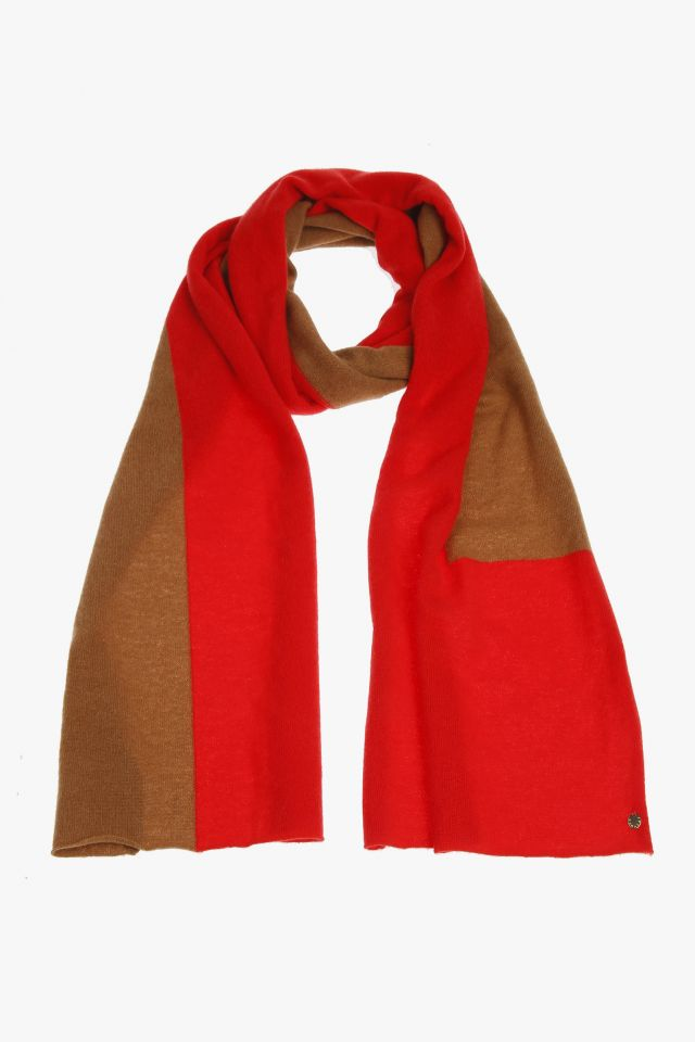 Red and brown cashmere scarf