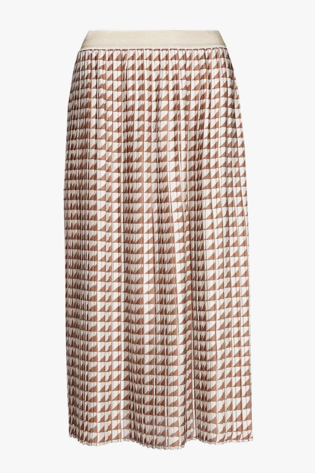 Pleated skirt with brown and white print