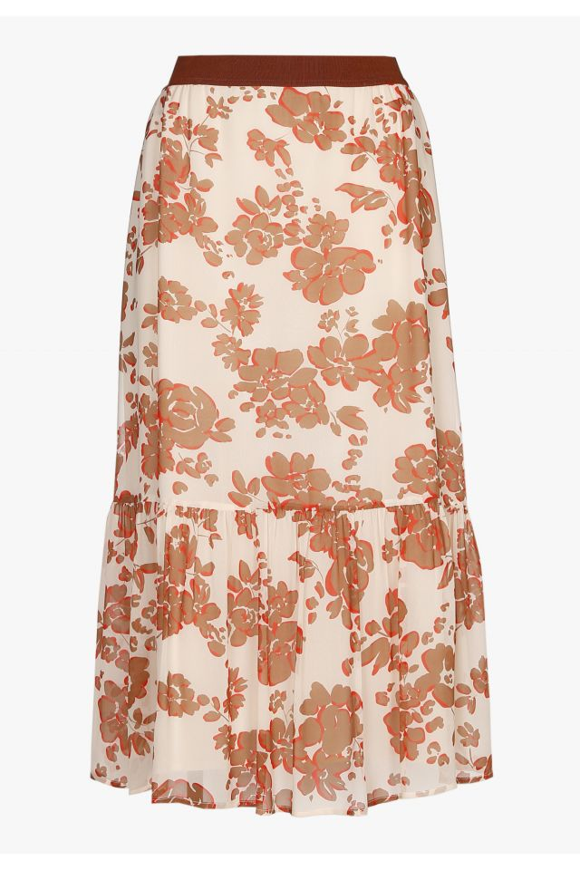 Beige midi skirt with floral print