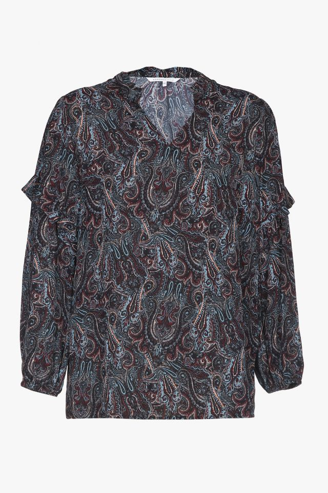 Blue and burgundy blouse with paisley pattern