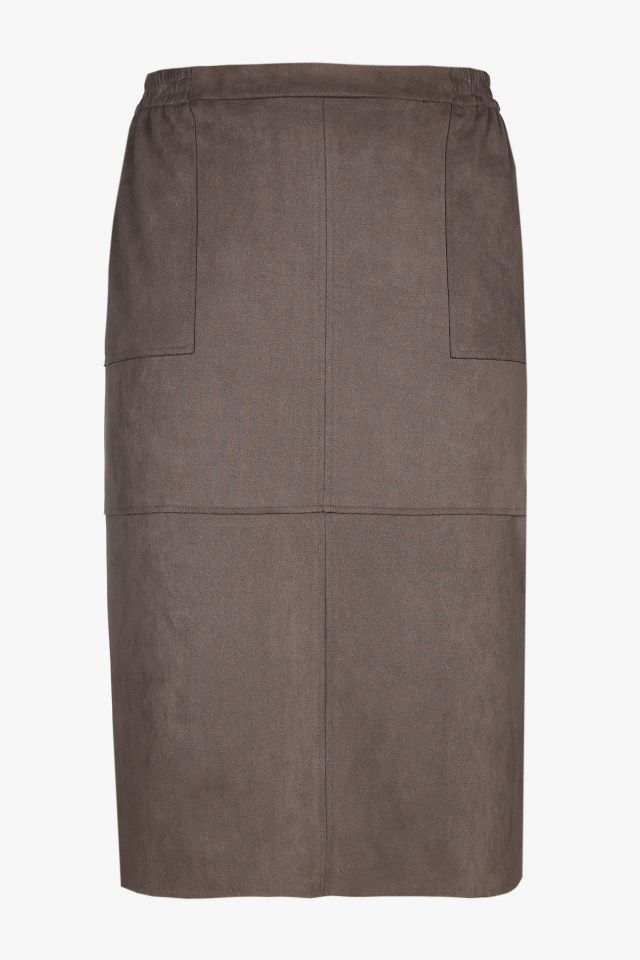 Taupe suede midi skirt