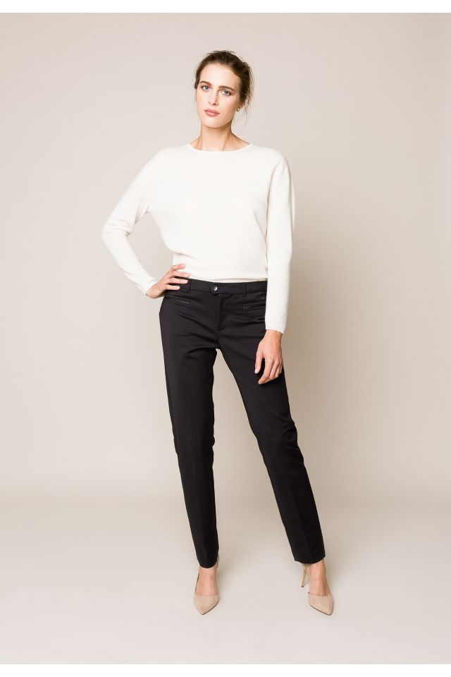 Black cotton trousers with a slim fit
