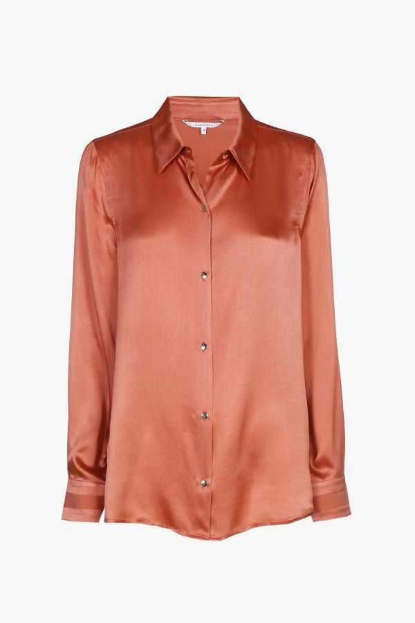 Orange-pink blouse with long sleeves