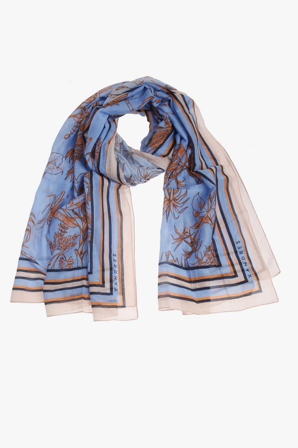 Blue scarf with pink print