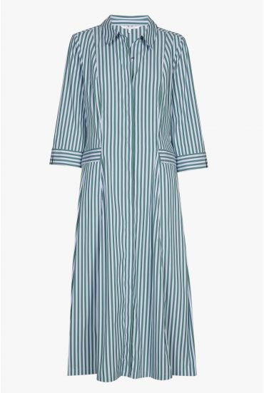 Striped shirt dress in blue and green