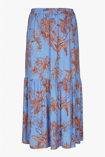 Long blue skirt with print