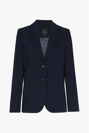 Tailored dark-blue wrinkle-free blazer
